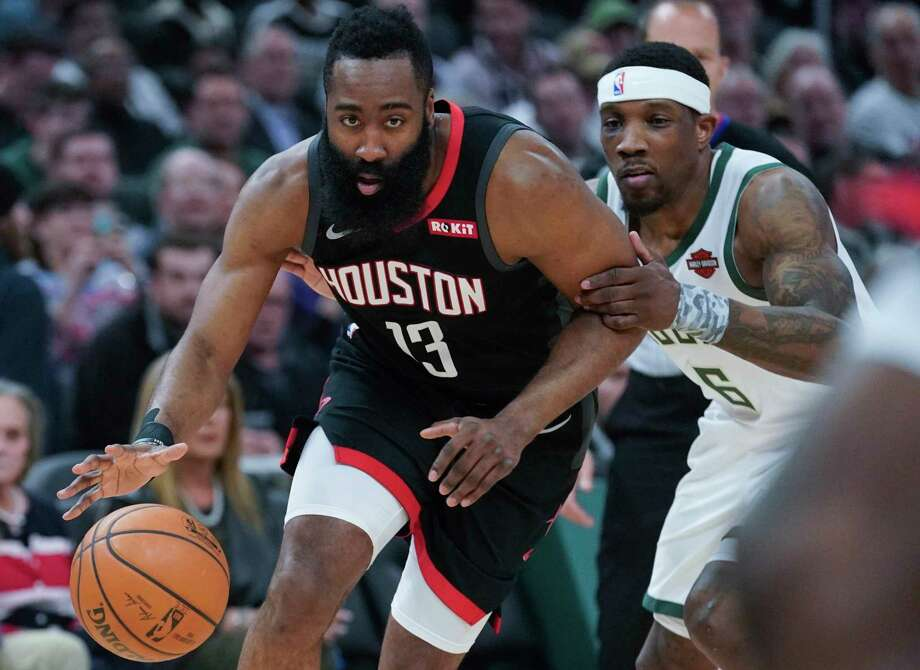 Houston Rockets' James Harden drives past Milwaukee Bucks' Eric Bledsoe during the first half of an NBA basketball game Tuesday, March 26, 2019, in Milwaukee. (AP Photo/Morry Gash) Photo: Morry Gash, Associated Press / Copyright 2019 The Associated Press. All rights reserved.