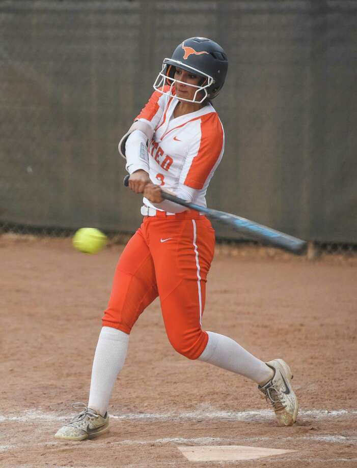 Kelly Salinas is second on the team with a .424 average and 24 RBIs and leads United with 20 extra-base hits. She also leads the Lady Longhorns on the mound with a 15-8 record and a 2.84 ERA. Photo: Danny Zaragoza /Laredo Morning Times File