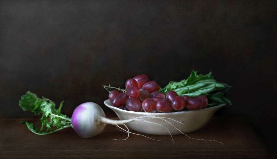 "Burnham Library in Bridgewater is exhibiting fine art photography by Judith Secco of Bantam through March 30. Above is ""Turnip with Grapes and Greenbeans."" For more information, call the 62 Main St. South library at 860-354-6937. Photo: Contributed Photo / Contributed Photo / The News-Times Contributed"