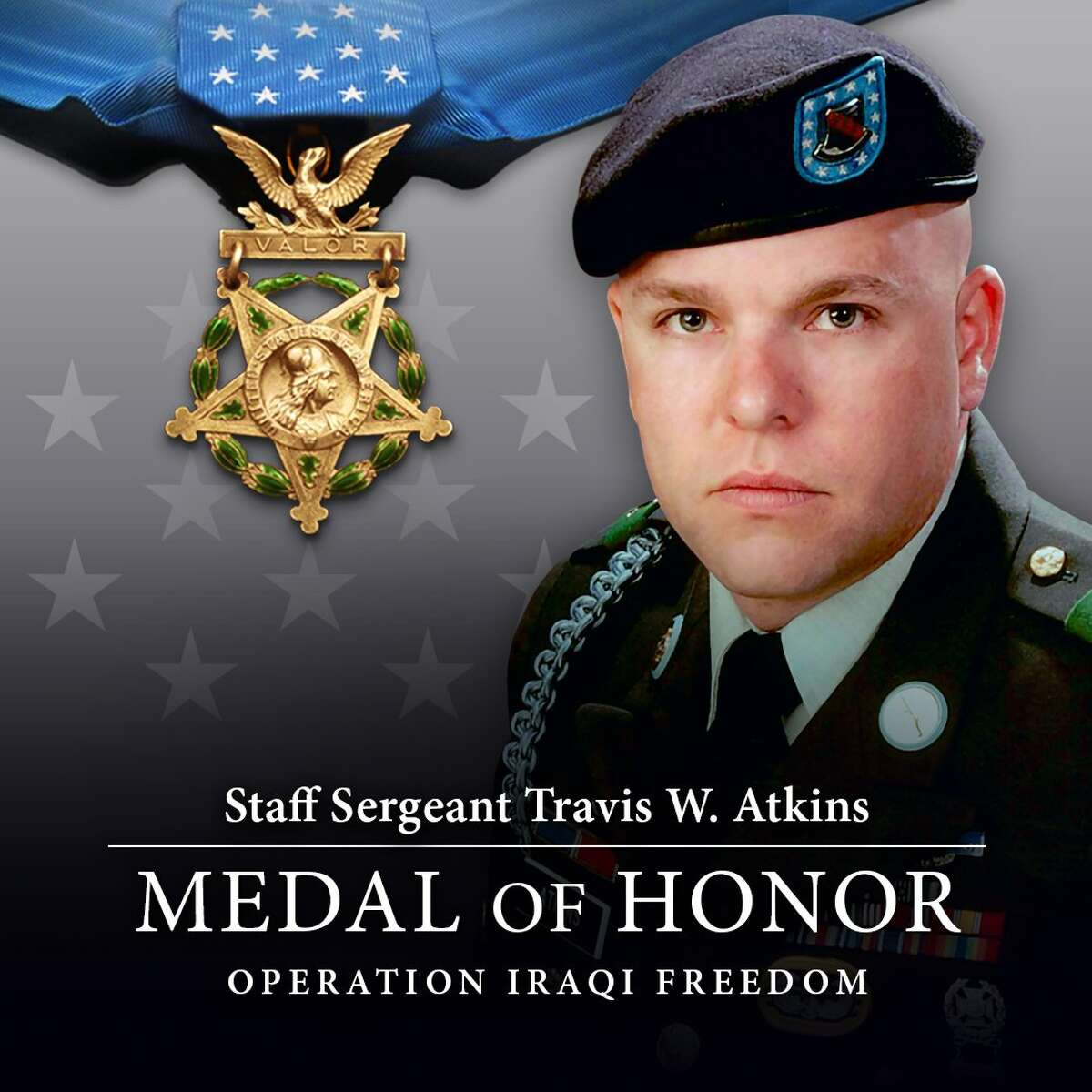 Staff Sgt. Atkins, of Bozeman, Montana, posthumously will become the fifth U.S. service member to receive the nation's highest award for combat valor, the Medal of Honor, for actions during the eight-year Iraq War. A member of the 10th Mountain Division of Fort Drum, New York, he is credited with saving the lives of Aijo and two other soldiers by smothering a suicide vest laced with grenades, worn by the man he body-slammed.