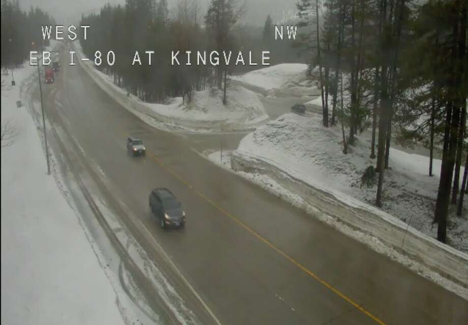 Highway 80 over Donner Pass the morning of March 27, 2019. Photo: Caltrans Webcam
