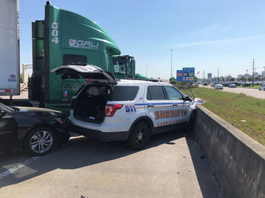 A Harris County Sheriff's Office patrol car was crushed after a crash with an 18-wheeler on Katy Freeway near Mason Road on Wednesday, March 27, 2019. Photo: Harris County Sheriff's Office