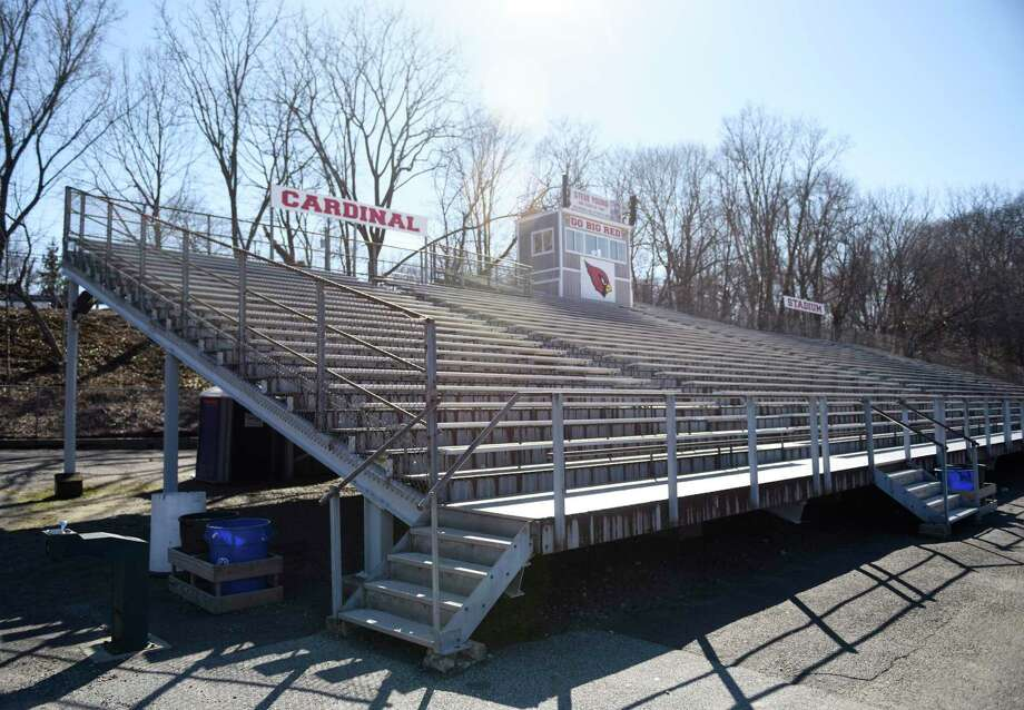 The bleachers at Greenwich High School's Cardinal Stadium. Photo: Tyler Sizemore / Hearst Connecticut Media / Greenwich Time