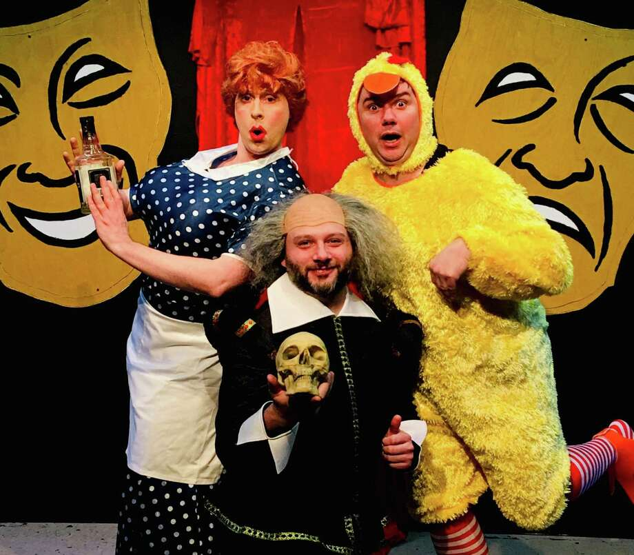 """From left, James J Moran, Chris Brook and Rick Bennett appear in the Connecticut Cabaret Theatre's production of """"The Complete History of Comedy (abridged),"""" March 29 through April 27, 2019. Photo: Connecticut Cabaret Theatre / Contributed Photo /"""
