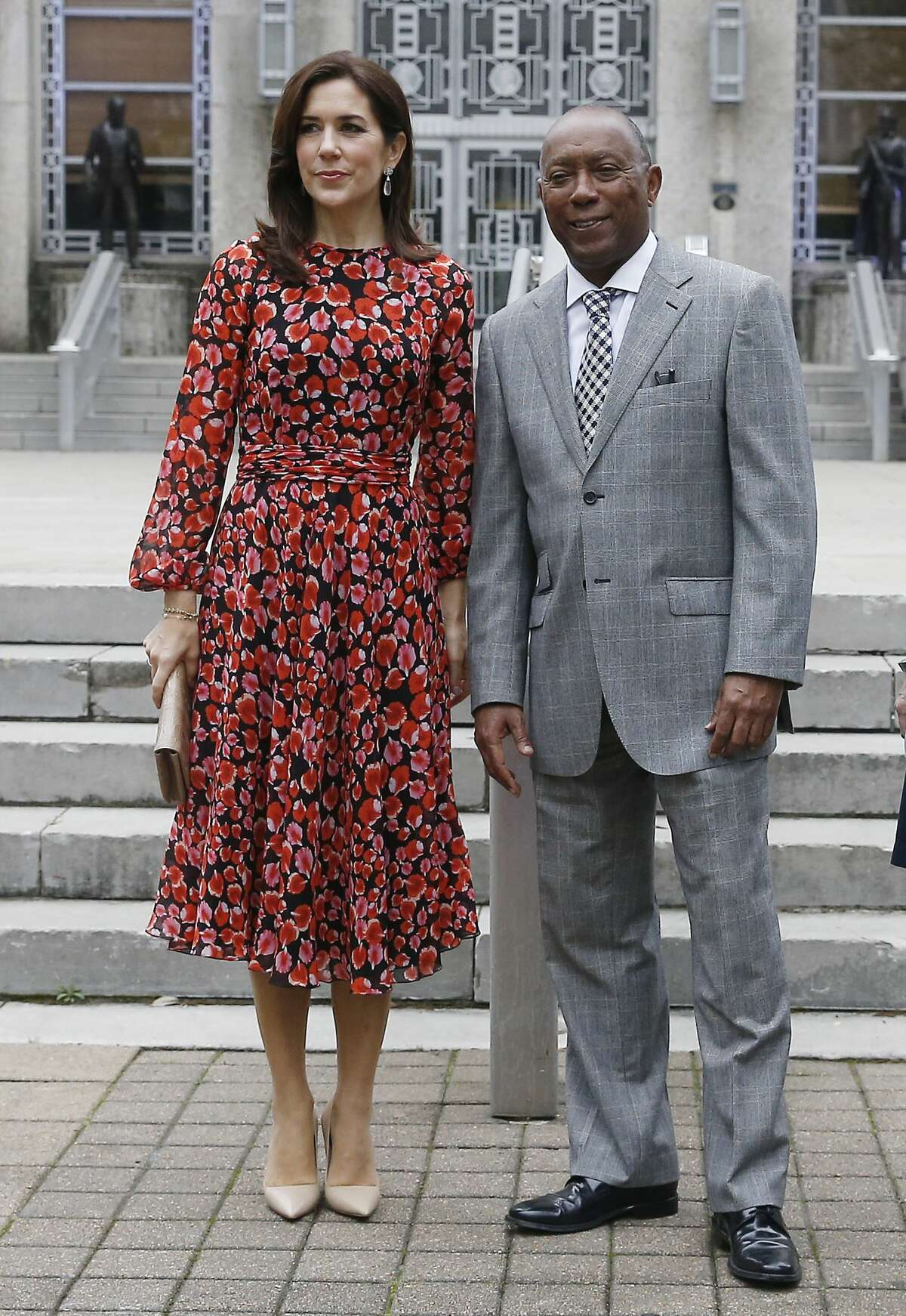 Mary, Crown Princess of Denmark and Houston Mayor Sylvester Turner on the steps of city hall as she visits Houston on March 12, 2019 in Houston, Texas. (Photo by Bob Levey/Getty Images)