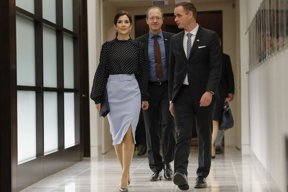 >>>See other celebrities with Houston ties. Her Royal Highness Crown Princess Mary of Denmark, Acting Ambassador Henrik Hahn Bramsen, and Consul General in Houston Jacob Vind arrive at an event highlighting an exploration of life science collaboration opportunities between Texas and Denmark at the Texas Medical Center on March 13, 2019 in Houston, Texas. (Photo by Tim Warner/Getty Images)