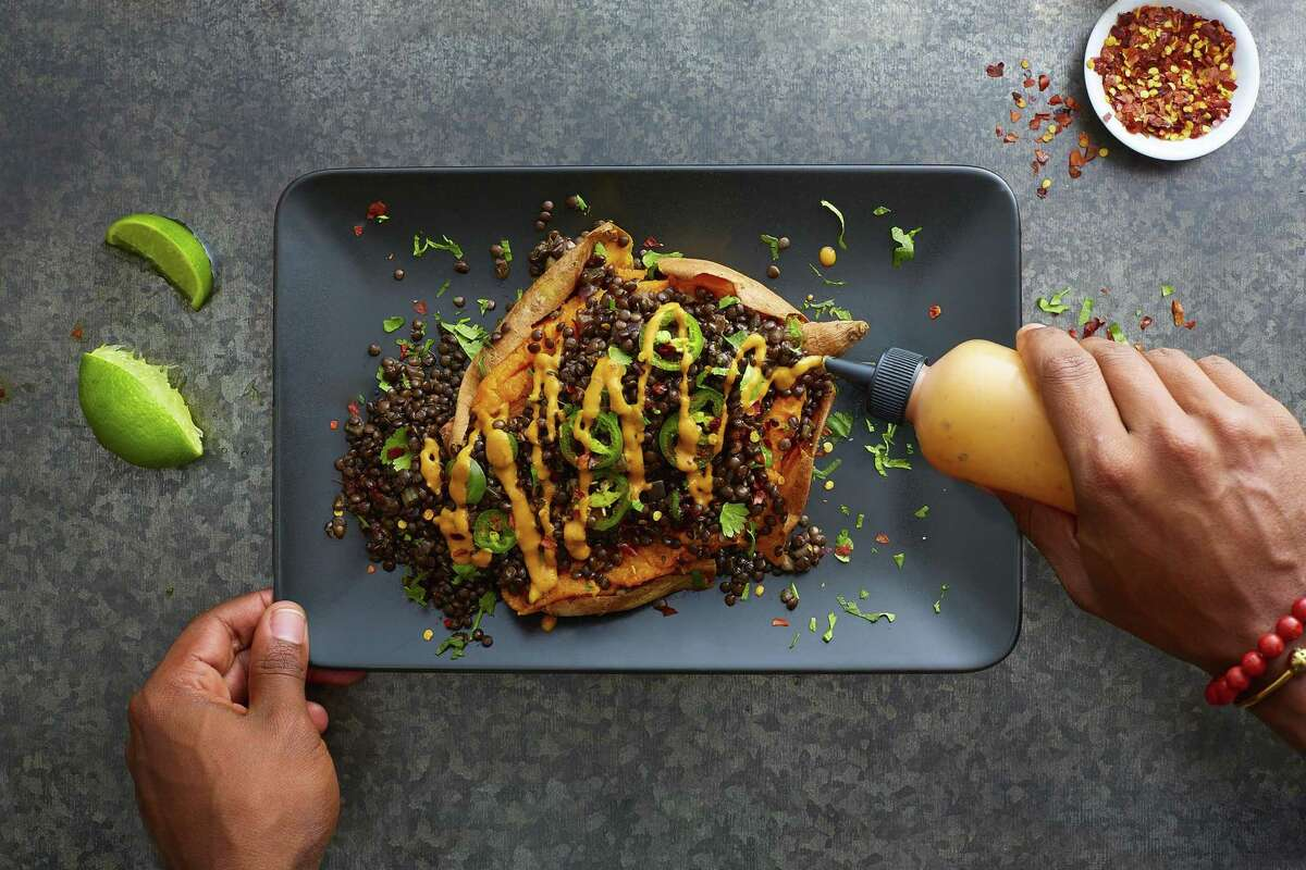 "Tex-Mex ""Caviar""-Loaded sweet Potato with Chipotle Tahini"