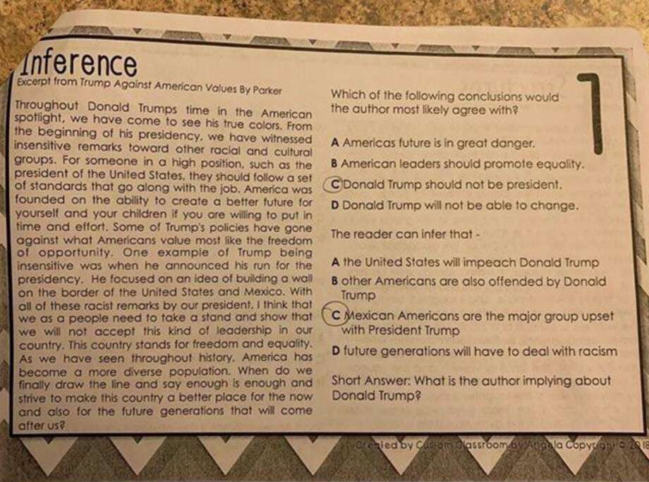 In a Facebook post, State Rep. Briscoe Cain, R-Deer Park, shared an assignment from a Goose Creek CISD 7th grade classroom that appears critical of President Donald Trump. Photo: Facebook / Briscoe Cain
