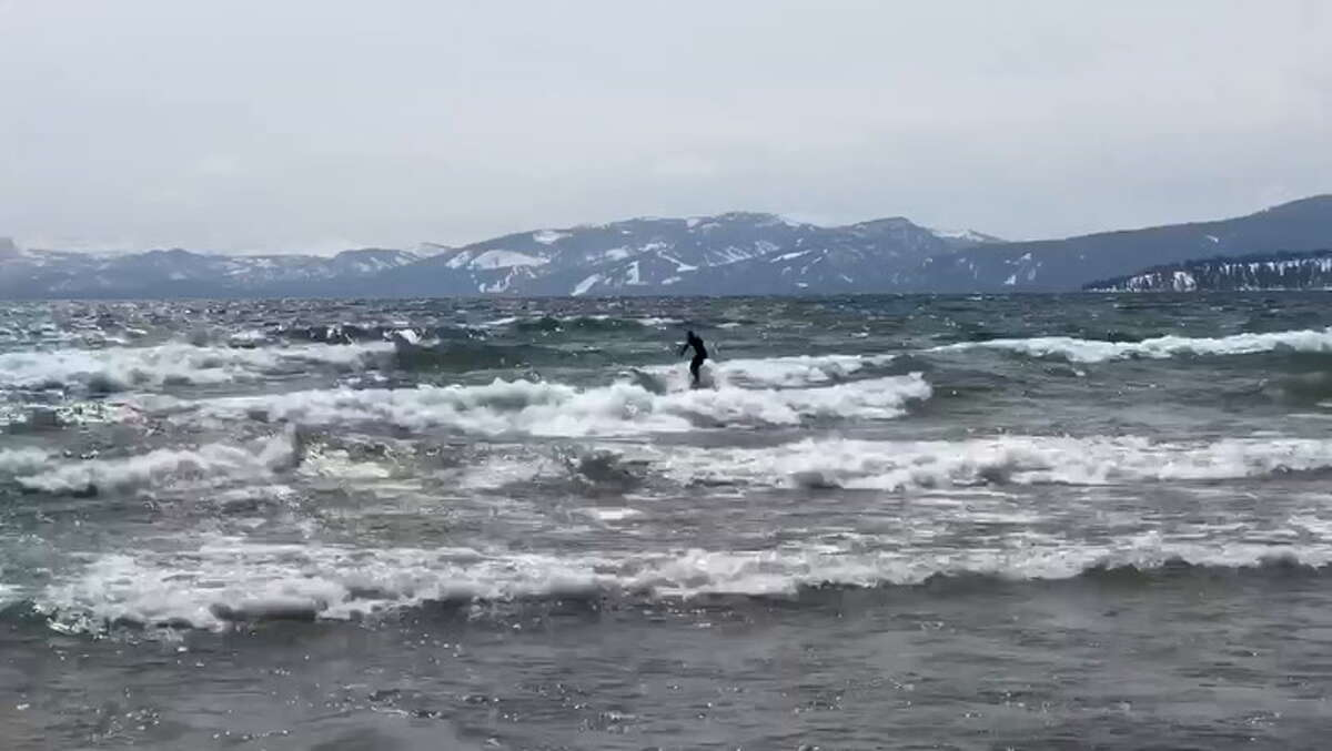 A surfer took advantage of big waves on Lake Tahoe Tuesday.