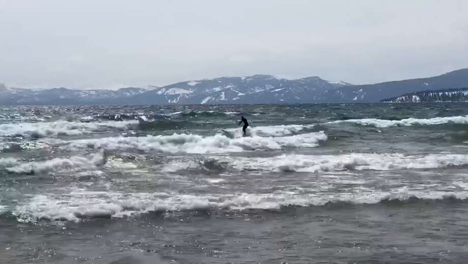 A surfer took advantage of big waves on Lake Tahoe Tuesday.