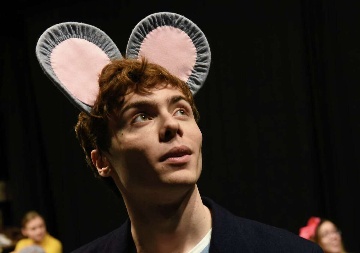 Actor Matthew Dulchinos portrays Stuart Little during rehearsal of a kid-focused version of the E.B. White story