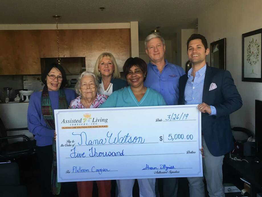 Homecare agency Assisted Living Services presented their first monthly $5,000 Platinum Caregiver Award on March 26. From left, Karen Damaskos; daughter; client Ann Mulready; Sharon D'Aquila, Co-Owner and President; Nana Watson, Platinum Caregiver Award Recipient; Tom Daly, General Manager and Director of Live-In Services; and Mario D'Aquila, MBA-Chief Operating Officer. Photo: Contributed Photo
