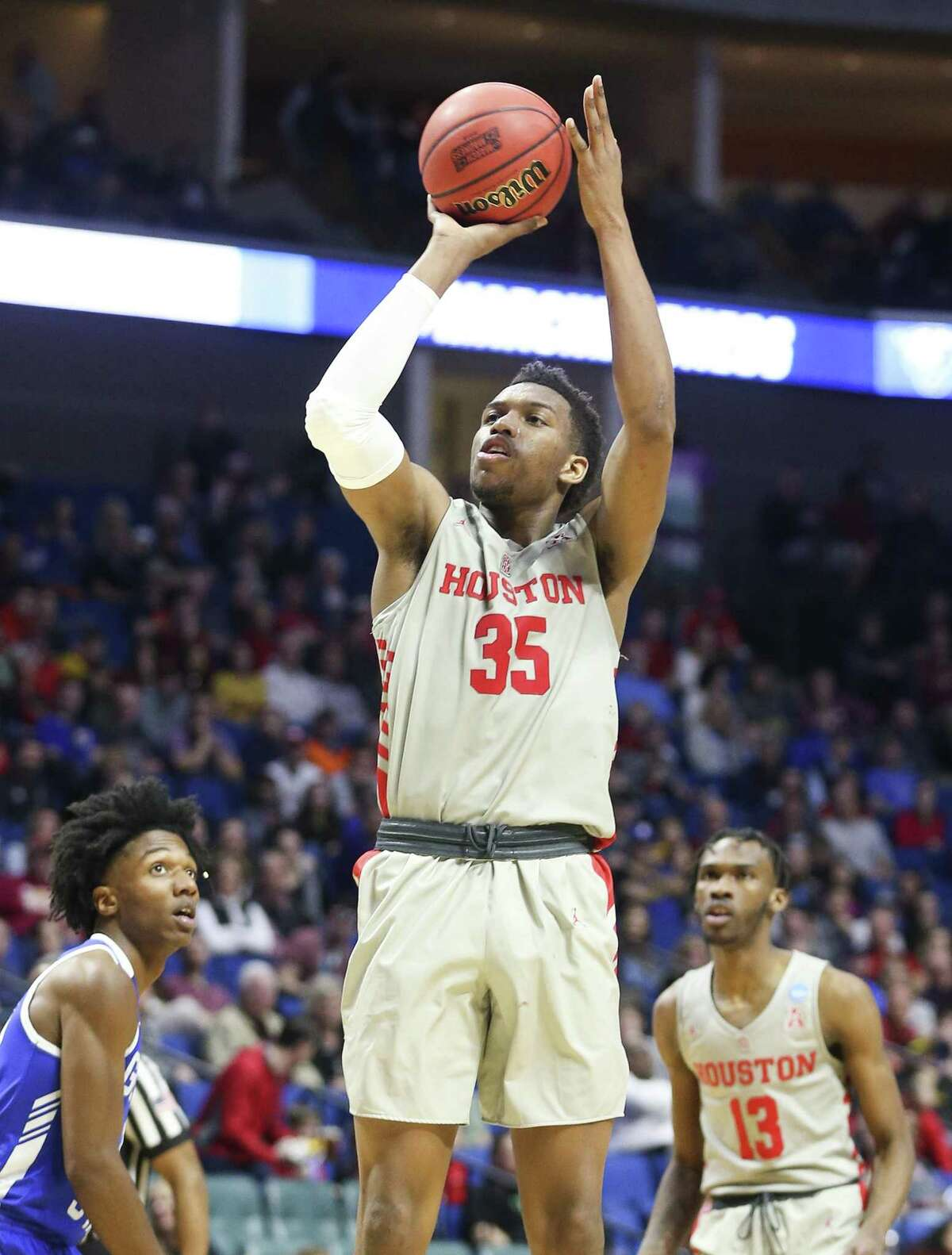 Houston Cougars forward Fabian White Jr. (35) puts up two of his 14 points against Georgia State Panthers during the first round of NCAA playoffs atBOKCenter on Friday, March 22, 2019 in Tulsa. Houston won the game 84-55.
