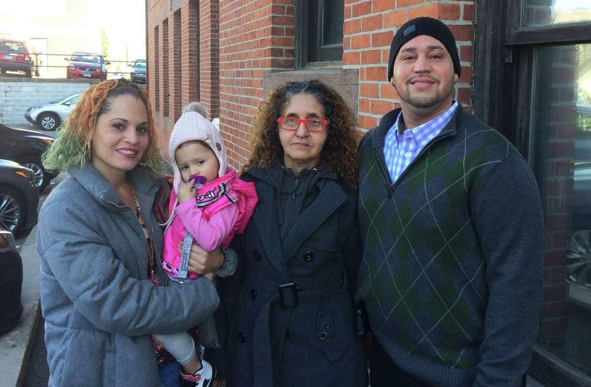 From Left, Wanda Mendez, her 2-year-old daughter Niasyria, Sara Mendez and Carmelo Mendez