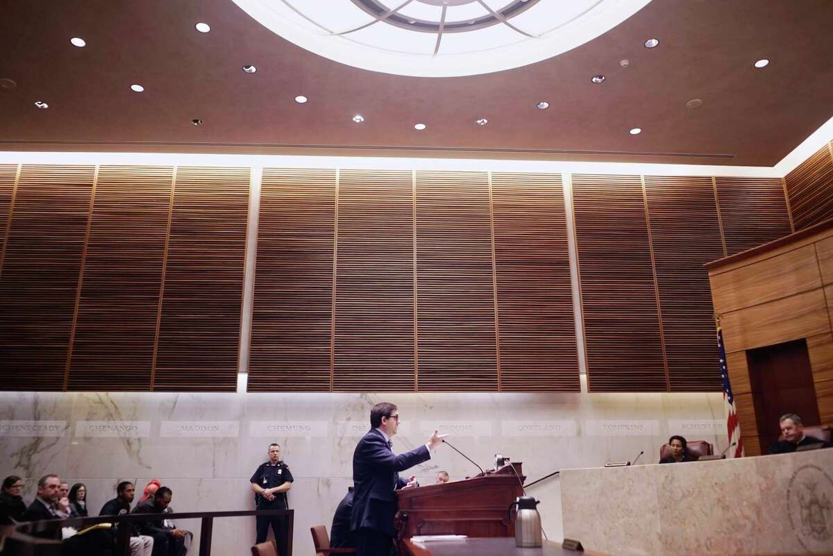Albany County Assistant District Attorney Vincent Stark, addresses the court at the Appellate Div., Third Dept. courtroom on Wednesday, March 27, 2019, in Albany, N.Y. Stark was making an argument in the conviction of Tasheem Maeweather in the case of a gun being fired in a crowded Crossgates Mall on Nov. 12, 2016. (Paul Buckowski/Times Union)