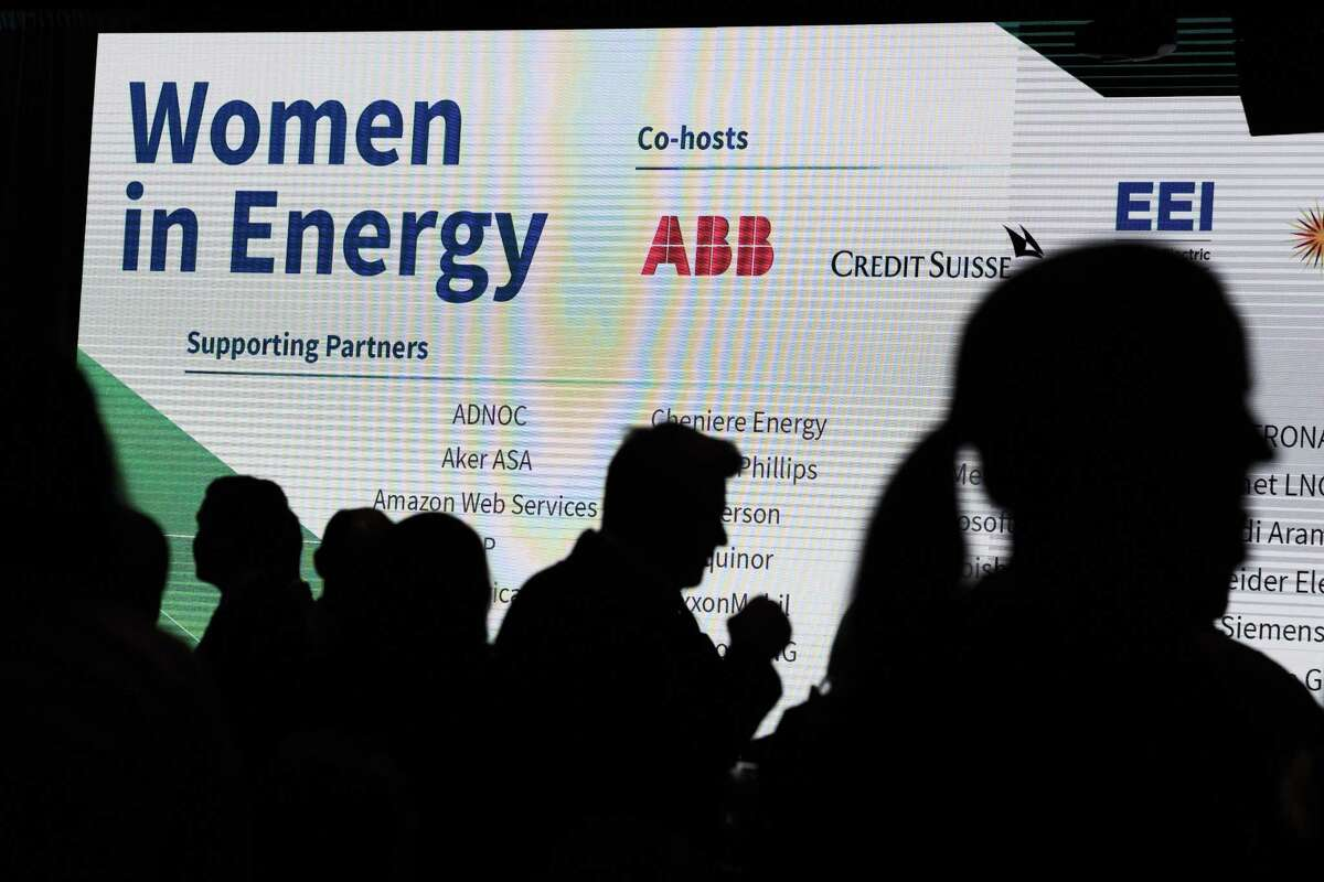 Guests arrive to the Women in Energy dialogue during the CERAWeek convention on Wednesday, March 13, 2019, in Houston.