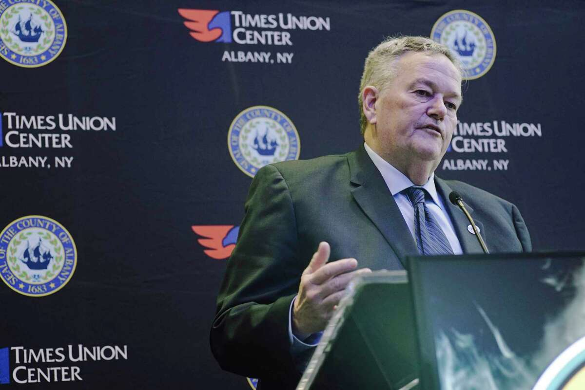 Rich Ensor, MAAC commissioner, addresses those gathered for a press conference at the Albany Capital Center on Wednesday, March 27, 2019, in Albany, N.Y. The press event was held to talk about the NCAA Division I women's basketball regional being held at the Times Union Center and the other events taking place in conjunction with it. (Paul Buckowski/Times Union)