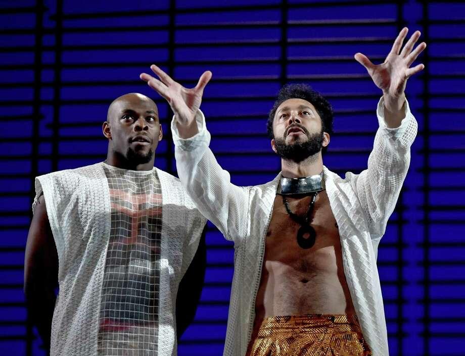 Ensemble member Wesley T. Jones, left, and William DeMeritt as Orsino. Photo: Peter Hvizdak / Hearst Connecticut Media / New Haven Register