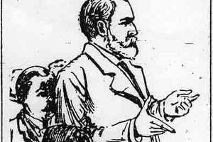 A drawing captures the closure of M.B. Curtis' first murder trial which ended in a jury deadlock.