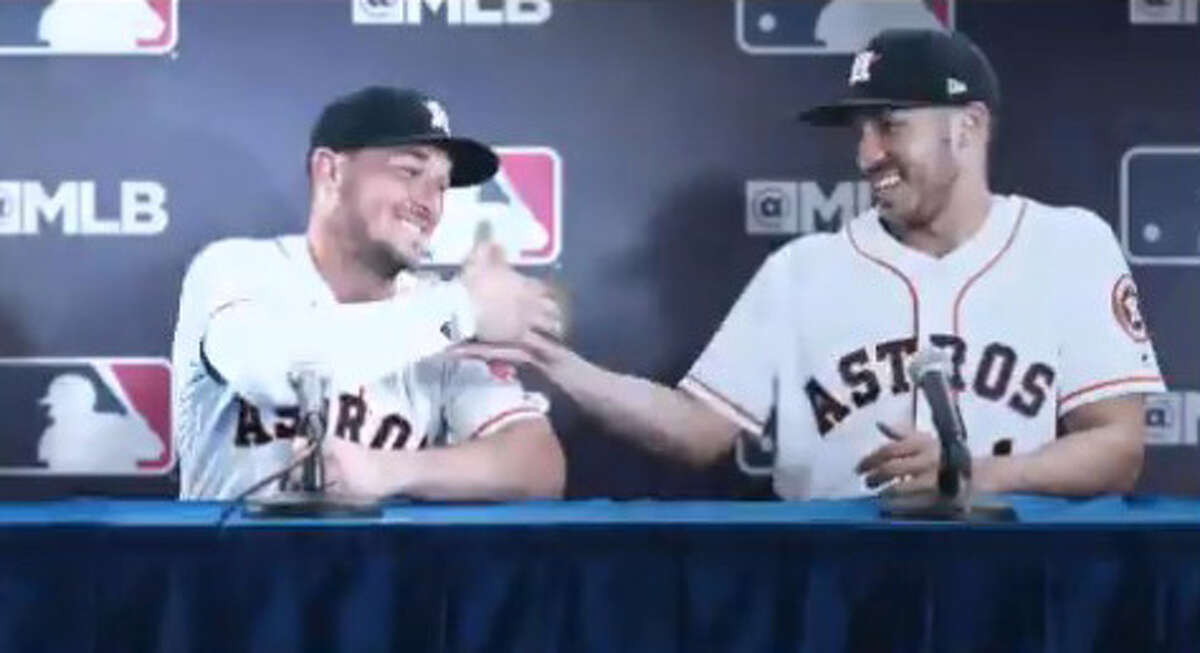 Still shots from the latest Major League Baseball commercial featuring the Astros' Alex Bregman and Carlos Correa.