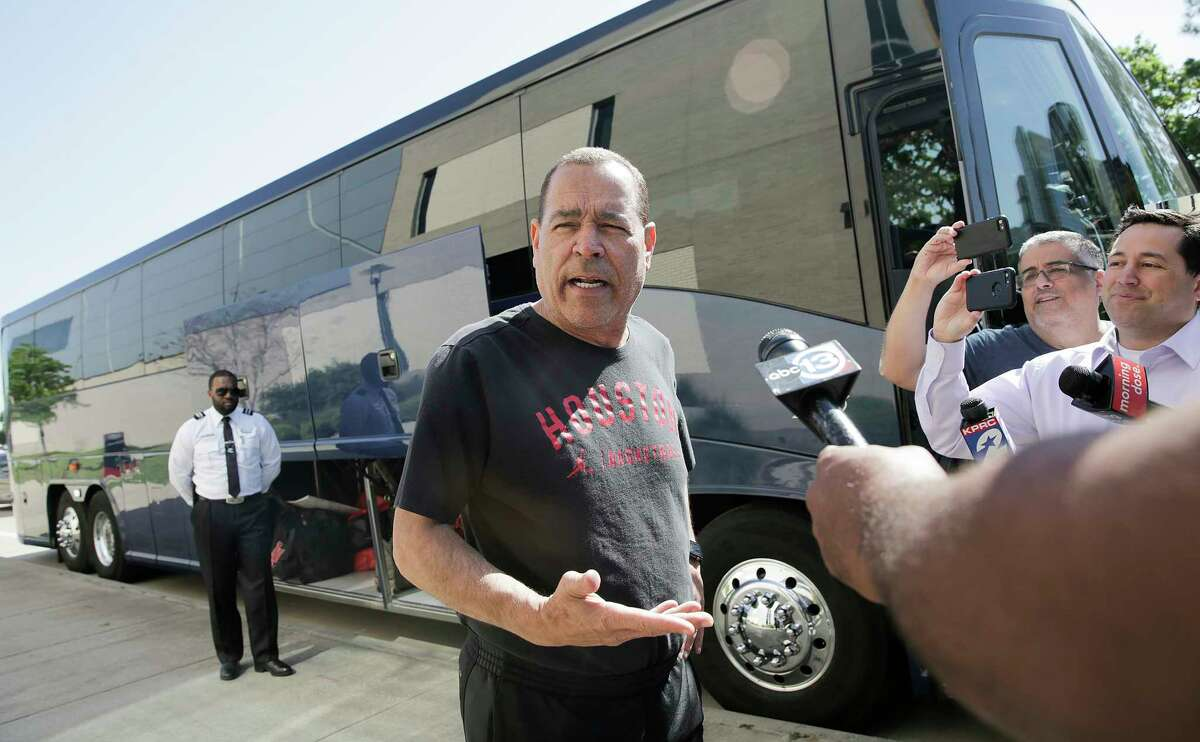 Houston head coach Kelvin Sampson talks to the media before boarding a bus for the airport to head to Kansas City for the Sweet 16 on Wednesday, March 27, 2019.