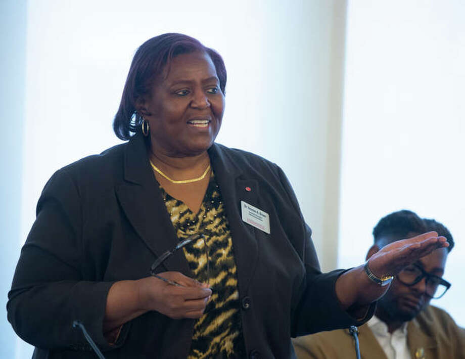 "Venessa A. Brown, associate chancellor and chief diversity officer, was one of the moderators of SIUE's Diversity and Inclusion Spring Summit, ""Implicit Bias and Institutional Change: Who Am I at SIUE?"" Photo: For The Intelligencer"