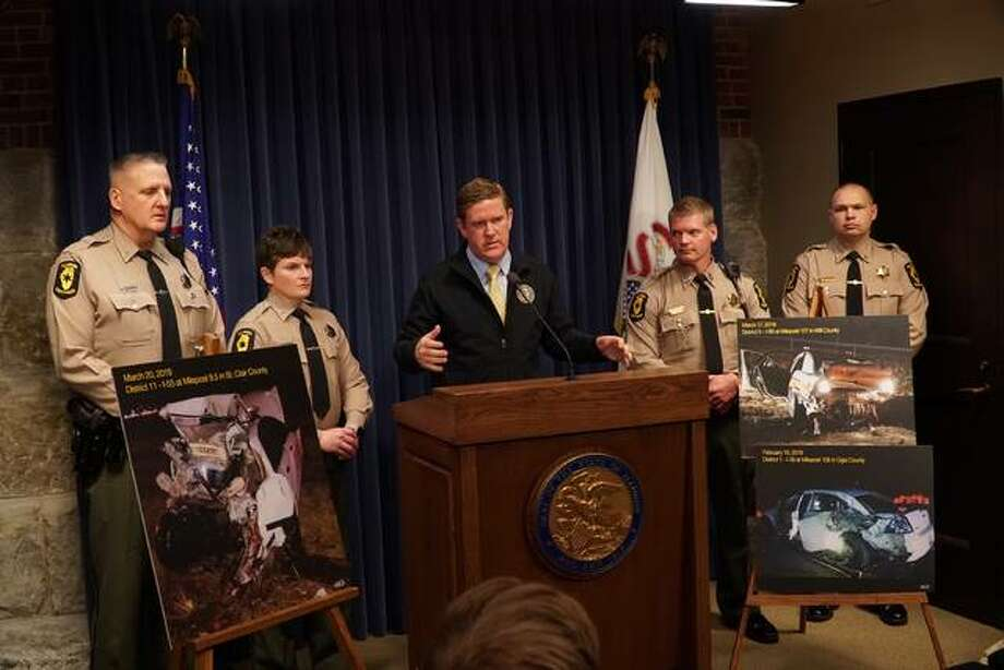"Acting Illinois State Police Director Brendan Kelly speaks during a news conference Tuesday at the capitol in Springfield. Kelly called ""extremely concerning"" an increase this year in the number of incidents of moving vehicles colliding with parked police cars and officers along Illinois roads. Photo: Photo By Lee Milner Of Illinois Times"