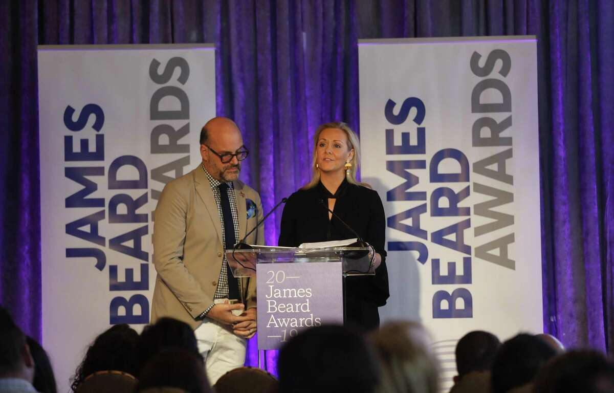 Clare Reichenbach, CEO, and Mitchell Davis, chief strategy officer, of the James Beard Foundation, read a list of nominees during the James Beard Foundation's announcement of the finalists for the 2019 James Beard Awards recognizing the best chefs and restaurants in the country at Hugo's.