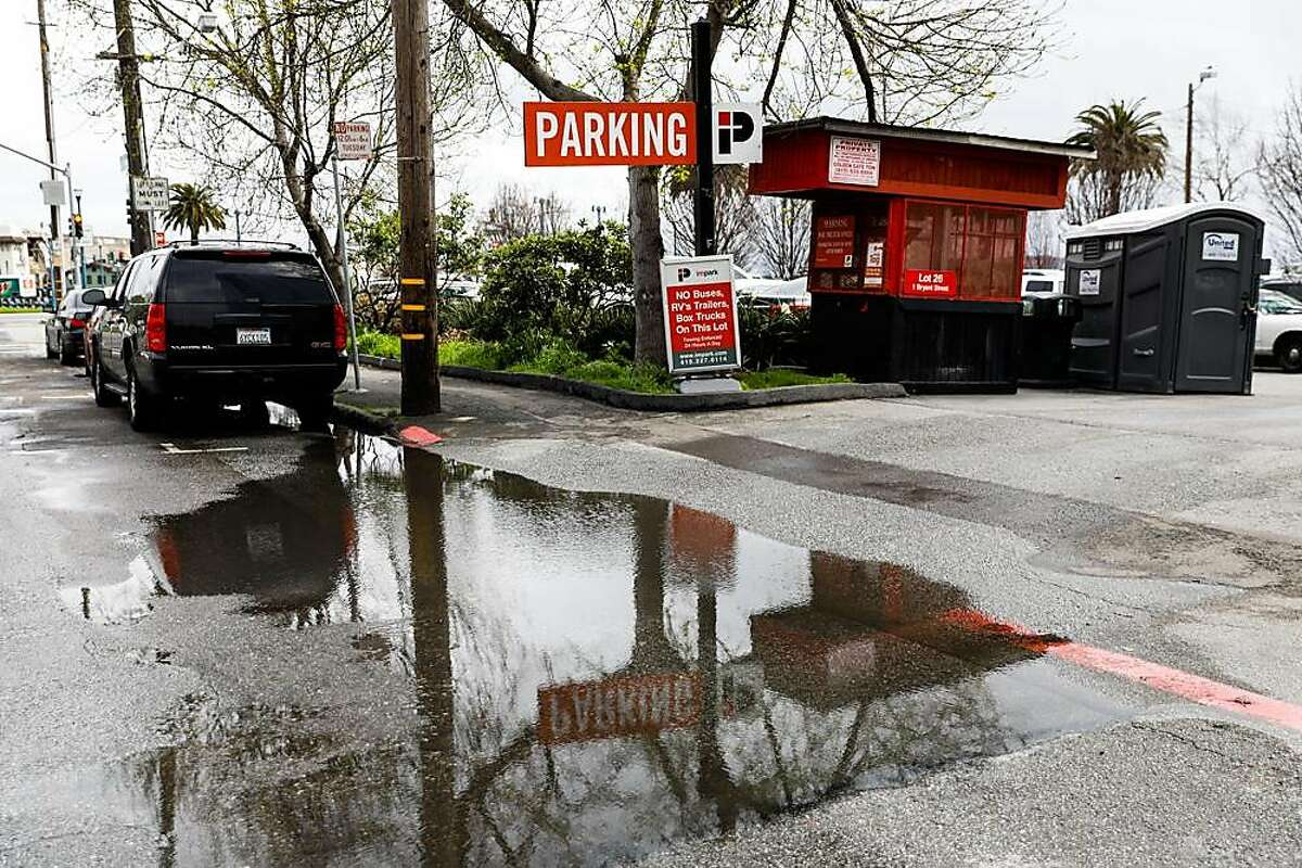 The entrance to a parking lot on Beale Street in San Francisco, California, on Wednesday, March 27, 2019. The parking lot had been proposed by Mayor London Breed as a potential Navigation Center.