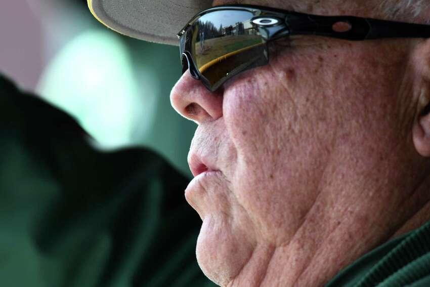 Siena College baseball coach Tony Rossi gestures from the dugout as his team battles against Army in their home opener on Wednesday afternoon, March 27, 2019, at Connors Park in Colonie, N.Y. Rossi is in his 50th season with the team. (Will Waldron/Times Union)