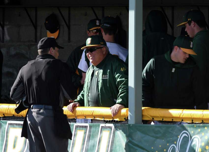Siena College baseball coach Tony Rossi chats with an umpire as his team battles against Army in their home opener on Wednesday afternoon, March 27, 2019, at Connors Park in Colonie, N.Y. Rossi is in his 50th season with the team. (Will Waldron/Times Union)