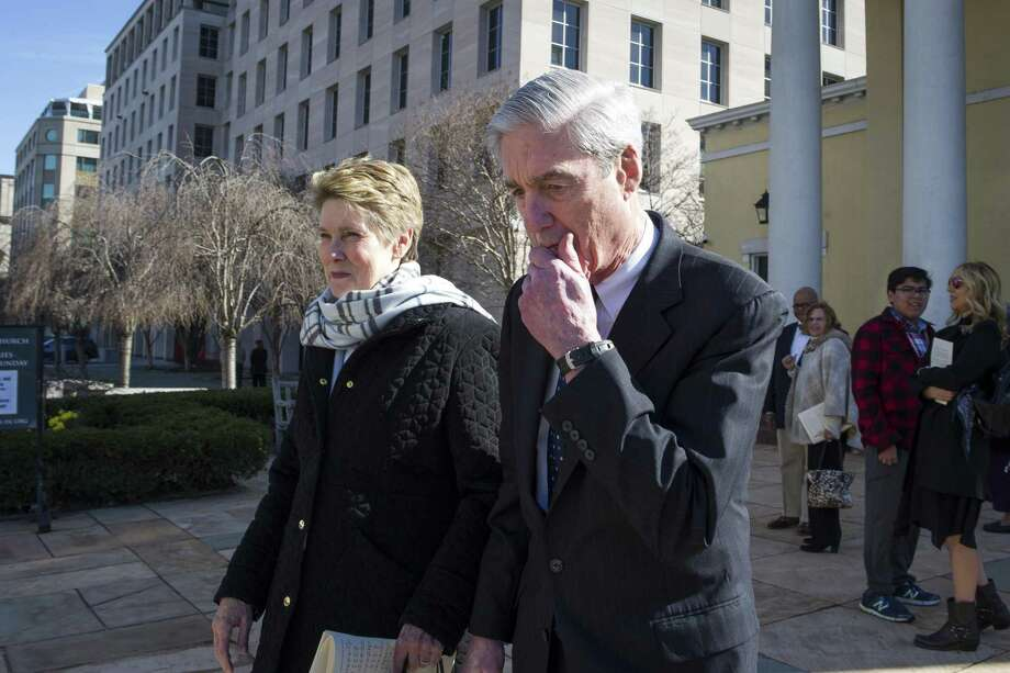 Special Counsel Robert Mueller, and his wife Ann, depart St. John's Episcopal Church, across from the White House on Sunday. The release of the special counsel's findings in the Russia probe swiftly reshaped the 2020 presidential campaign, all but settling the question of whether President Donald Trump could be knocked from the race by a new revelation in the report and turning the debate over the investigation on its head. Photo: Cliff Owen /Associated Press / Copyright 2019 the Associated Press. All Rights Reserved.
