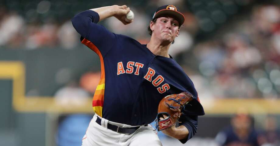 Houston Astros starting pitcher Forrest Whitley (68) pitches during the first inning of a spring training game at Minute Maid Park on Monday, March 25, 2019, in Houston. Photo: Jon Shapley/Staff Photographer