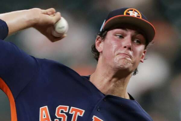 Houston Astros starting pitcher Forrest Whitley (68) pitches during the first inning of a spring training game at Minute Maid Park on Monday, March 25, 2019, in Houston.
