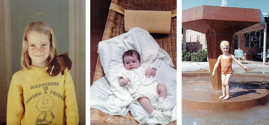 Left: Seven-year-old Sandra Tofte with her guinea pig while growing up in Carmel Valley. Center: Sandra at 2 months old. Right: Sandra, 3, plays in a fountain. Photo: Courtesy Sandra Tofte