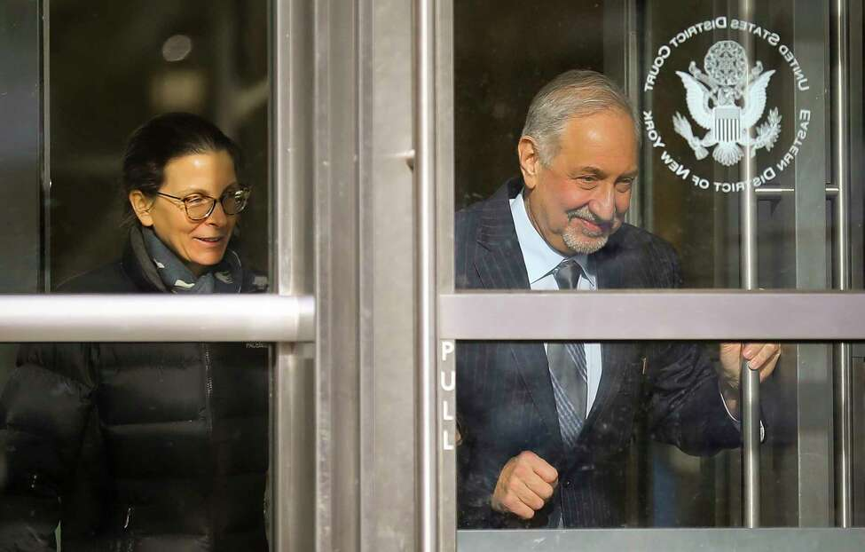 Clare Bronfman, a member of Nxivm, an organization charged in sex trafficking, leaves Brooklyn Federal Court with her lawyer Mark Geragos after she received medical attention while in court, Wednesday March 27, 2019, in New York.