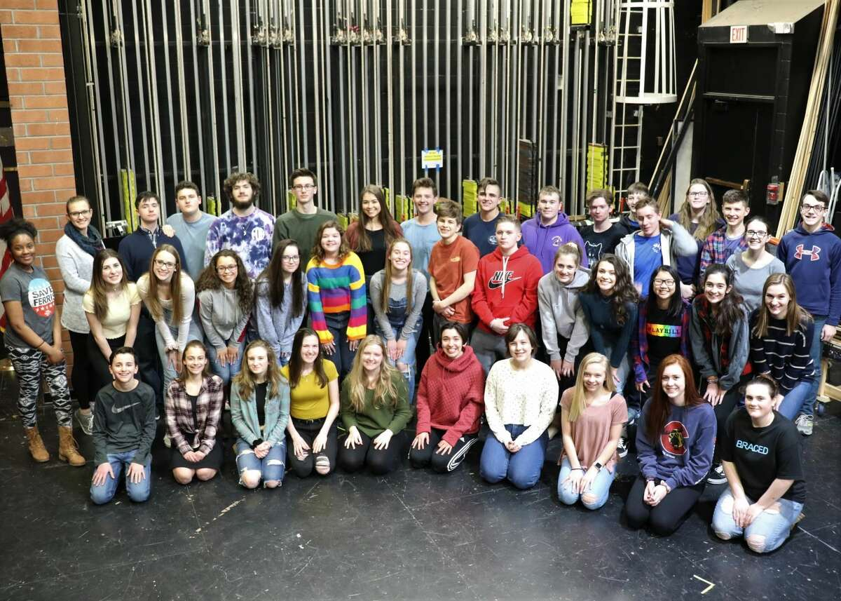 """The cast of the production of """"Newsies"""" at Ballston Spa High School."""