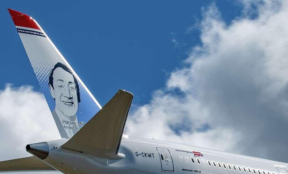 "Norwegian Air has chosen slain civil rights leader Harvey Milk as its latest ""tailfin hero"" on a brand new Boeing 787-9 Dreamliner Photo: Norwegian Air"