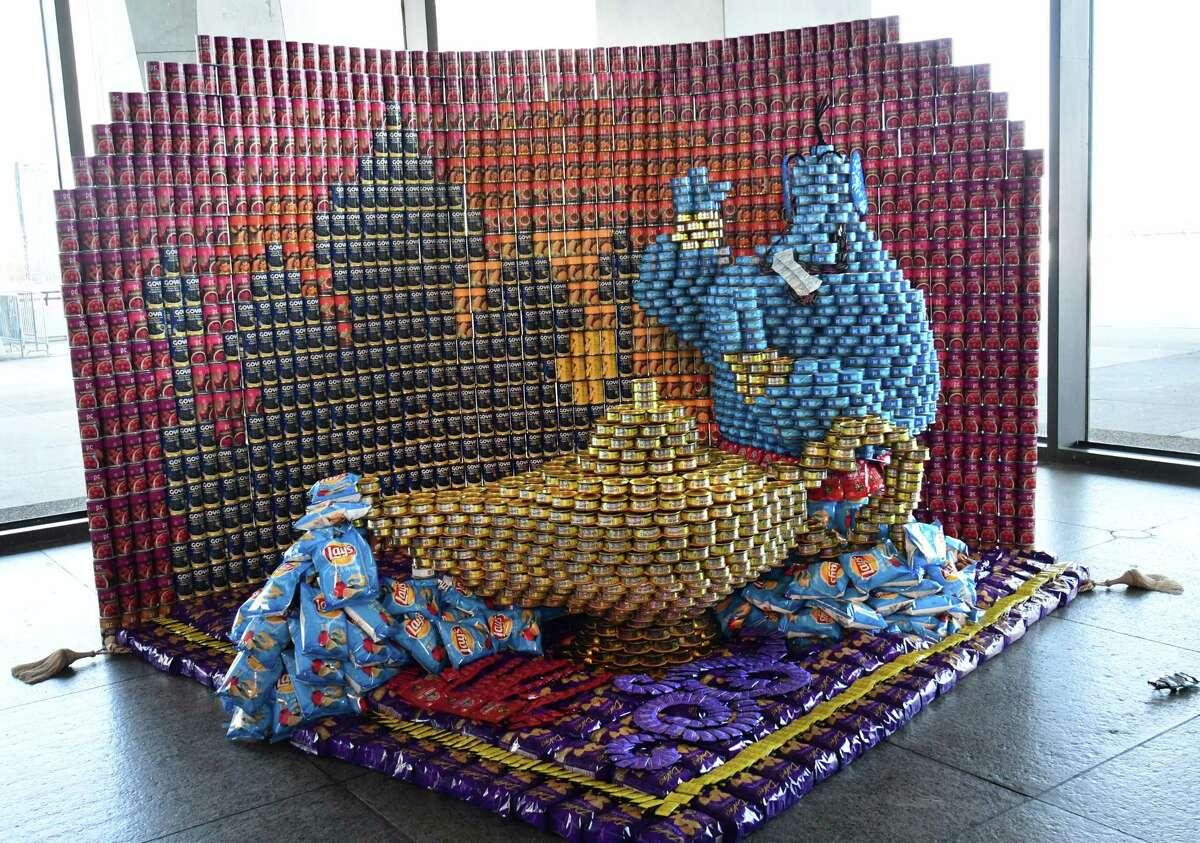 An Aladdin display is seen during this yearOs Canstruction ODisneyO themed program at the New York State Museum on Wednesday, March 27, 2019 in Albany, N.Y. The program will be benefiting the Food Pantries for the Capital District. (Lori Van Buren/Times Union)