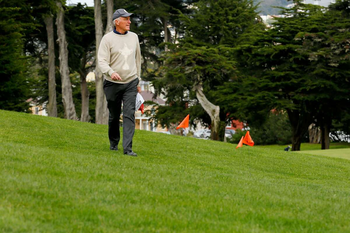 Kerry Haigh, PGA of America�s chief championships officer, inspects the course for grandstand placement at TPC Harding Park on Tuesday, March 26, 2019, in San Francisco, Calif. The PGA Championship will be held at the golf course in May 2020. Haigh is responsible for the overall operation, administration and golf course setup for the championship.