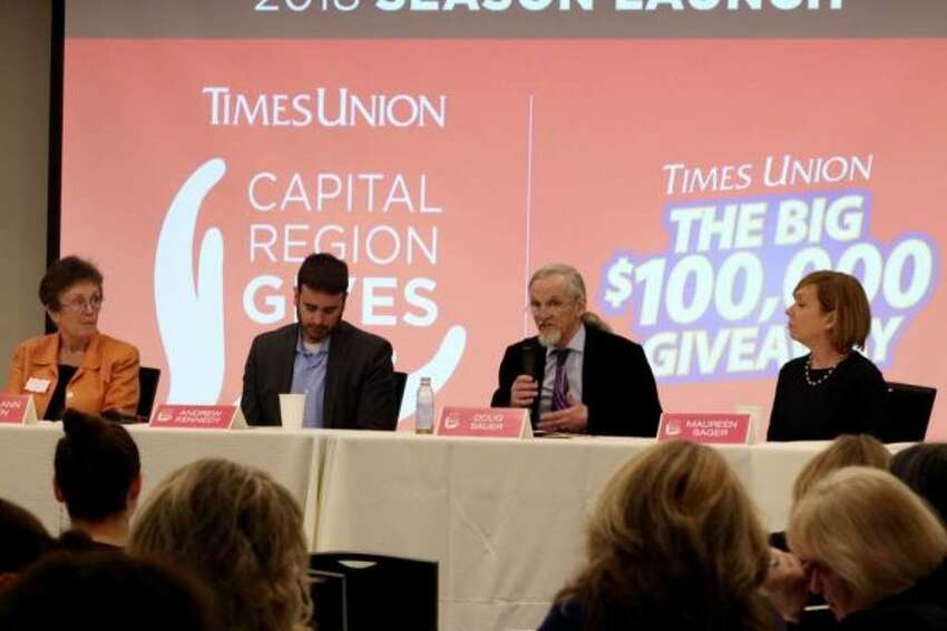 Panelists discuss the important role nonprofits have as an economic engine in the community during the Capital Region Gives season launch on March 28, 2018 at the Hearst Media Center. (Amanda Case / Times Union)