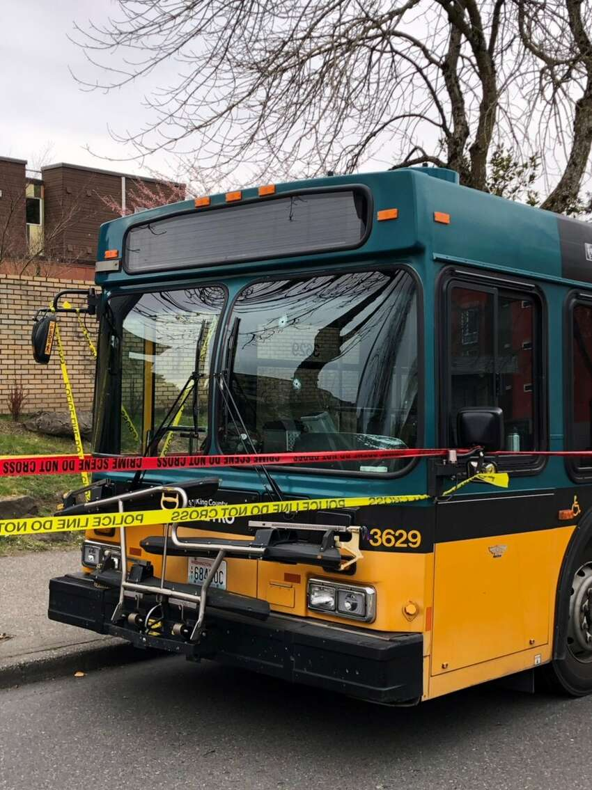 The Seattle Police Department shared this photo of bullet holes in a bus after two people were killed and two were injured in shooting Wednesday, March 28, 2019 in Lake City. Officials say the bus driver was shot in the torso.