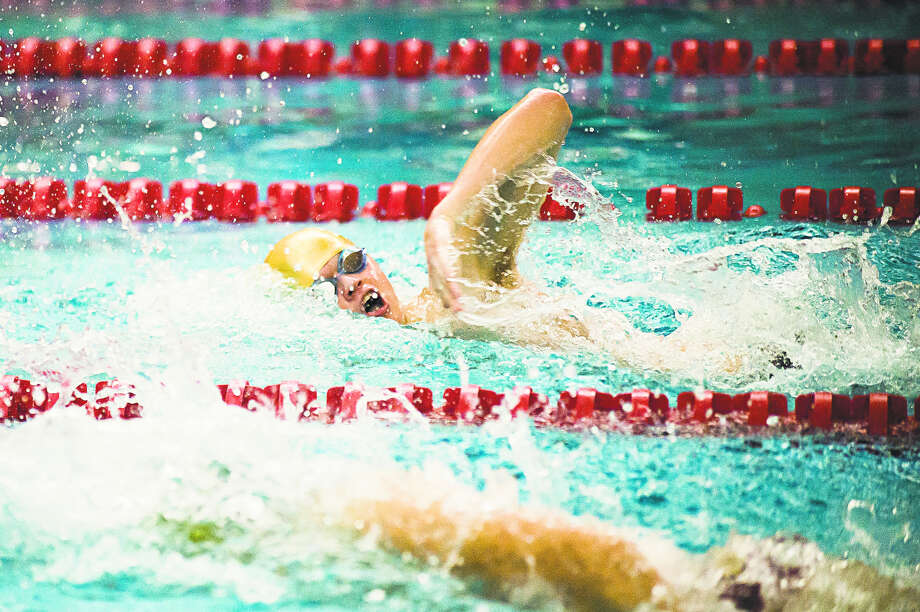 Dow High's Luke Lezotte competes in the 100-yard freestyle during the Pangborn Invitational at SVSU on Dec. 11, 2018. Photo: Daily News File Photo
