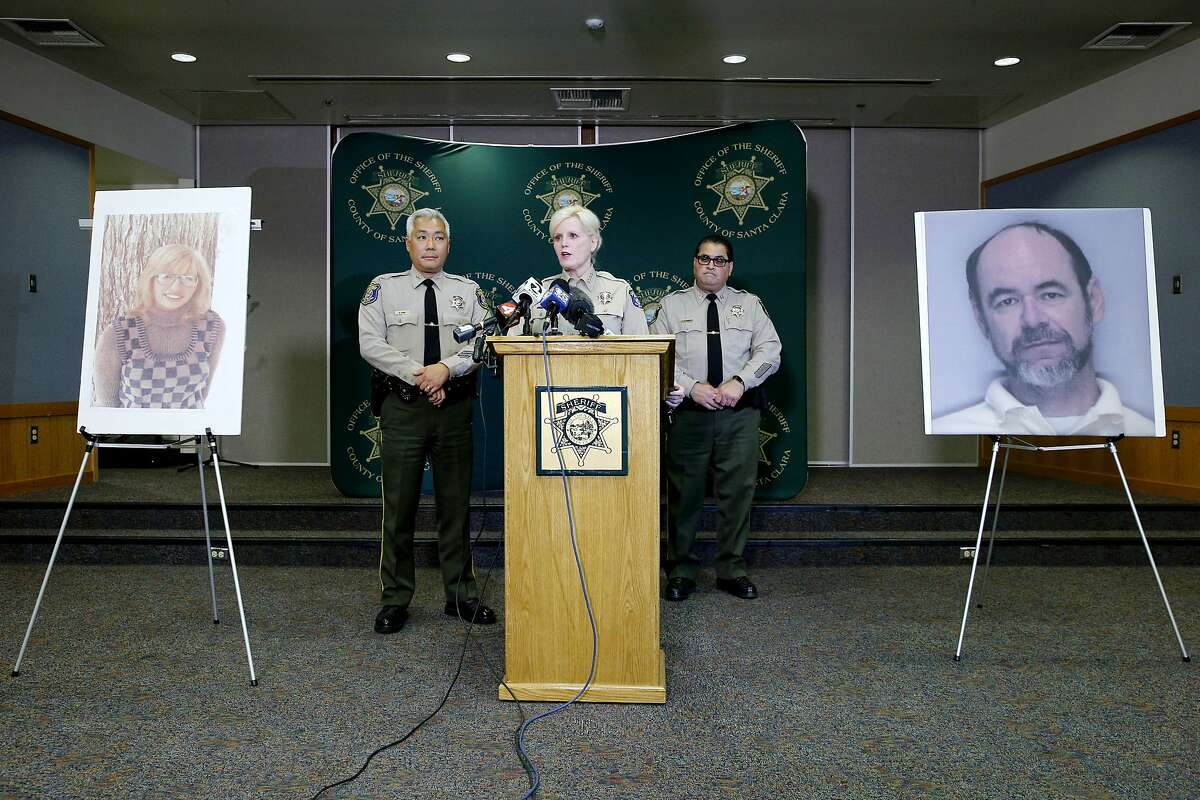Santa Clara County Sheriff Laurie Smith (center) during a news conference at their office headquarters, Thursday, June 28, 2018, in San Jose, Calif. Smith said DNA evidence tied Stephen Blake Crawford (undated photo of him on the right) in the 44-year-old Stanford church sexual assault and slaying of Arlis Perry (photo on the left). Crawford committed suicide earlier today when the sheriff's department was at the door serving a search warrant. Assistant Sheriff Rick Sung and Captain Robert Durr are seen at Smith's side during the news conference.