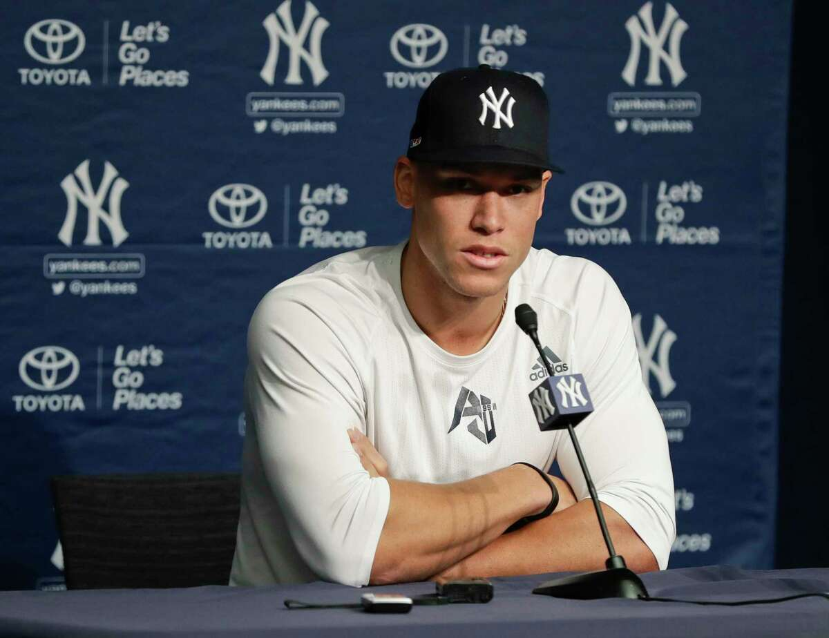 New York Yankees' Aaron Judge speaks during a baseball news conference Wednesday, March 27, 2019, in New York. The Yankees host the Baltimore Orioles on opening day Thursday. (AP Photo/Frank Franklin II)