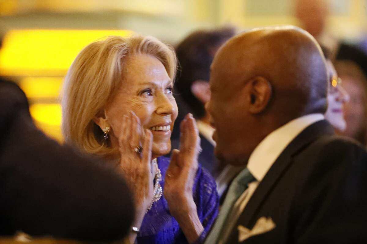 Charlotte M. Shultz, Chief of Protocol for the City & County of San Francisco, is given the Lifetime Visionary 2019 award at the Visionary of the Year Award gala on Wednesday, March 27, 2019 in San Francisco, CA. Former SF Mayor Willie Brown is at right.