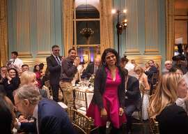 Saru Jayaraman, Co-Founder & President Restaurant Opportunities Centers United, goes up to the podium after being announced winner at the  Visionary of the Year Award gala on Wednesday, March 27, 2019 in San Francisco, CA.