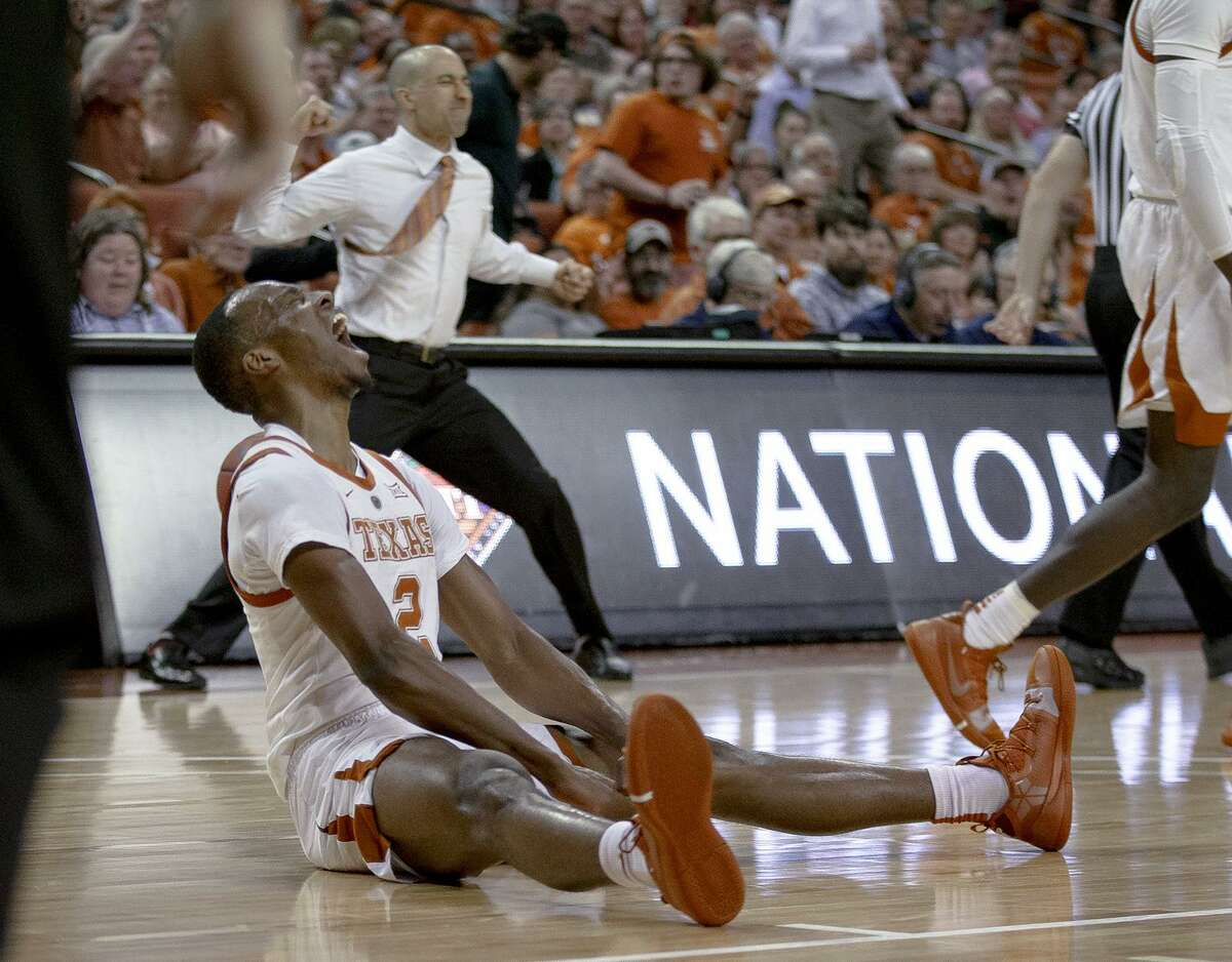 Texas guard Matt Coleman screams after taking a charge during the Longhorns' NIT quarterfinal win at the Erwin Center. UT will play Big 12 rival TCU in the semifinals next week in New York.