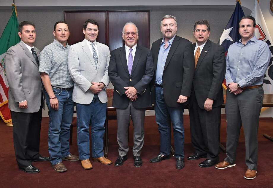 The Boys and Girls Clubs of Laredo announced the new slate of officers for 2019. From left are Wilfredo Martinez, first vice president; Joey Tellez Jr., treasurer; Andrew Carranco, president-elect; Joe Arciniega, president; George Beckelhymer, second vice president; John Villarreal, outgoing president; and Ramon Zertuche II, secretary. Photo: Cuate Santos /Laredo Morning Times / Laredo Morning Times