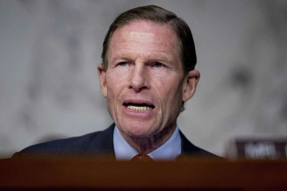 Sen. Richard Blumenthal, D-Conn., speaks as Federal Aviation Administration Acting Administrator Daniel Elwell, National Transportation Safety Board Chairman Robert Sumwalt, and Department of Transportation Inspector General Calvin Scovel appear before a Senate Transportation subcommittee hearing on commercial airline safety, on Capitol Hill, Wednesday, March 27, 2019, in Washington. Two recent Boeing 737 MAX crashes, in Ethiopia and Indonesia, which killed nearly 350 people, have lead to the temporary grounding of models of the aircraft and to increased scrutiny of the FAA's delegation of a number of aspects of the certification process to the aircraft manufacturers themselves. Photo: Andrew Harnik / Associated Press / Copyright 2019 The Associated Press. All rights reserved